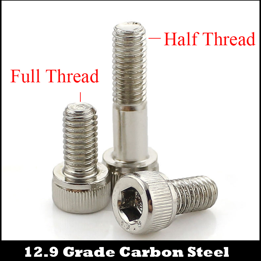 M5 M5*50/55/60 M5x50/55/60 12.9 Grade Nickel Plated Carbon Steel DIN912 Half Thread Cap Cup Allen Head Bolt Socket Hexagon Screw