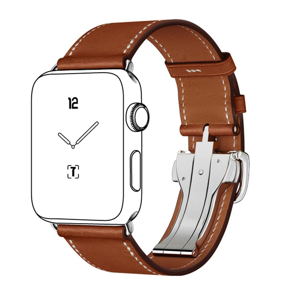 De cuero genuino Hermes banda de reloj hebilla Correa simple Tour para reloj apple watch banda Series1 Series2