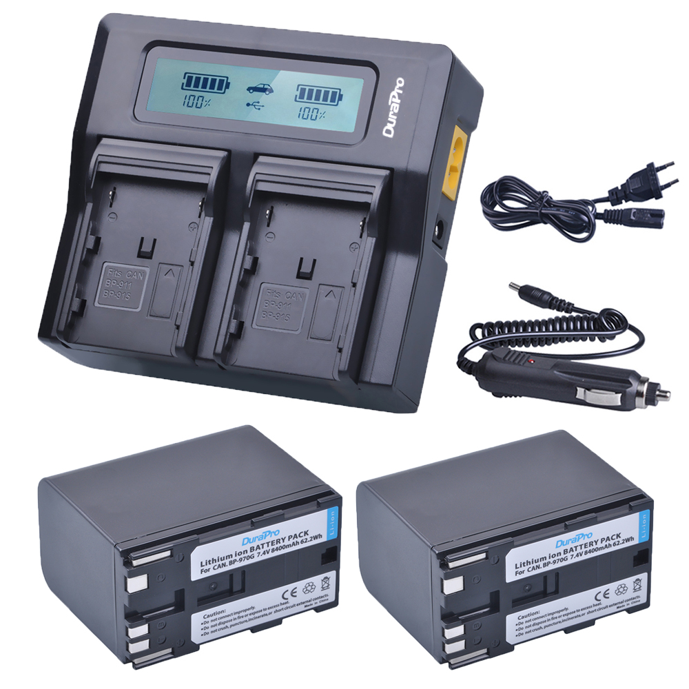 2 x 8400mAh BP-970G BP 970G BP-975 Batteries + LCD Dual Quick Charger Kits for Canon EOS C100,Mark II, EOS C300, XF100, XF105 canon bp 970g