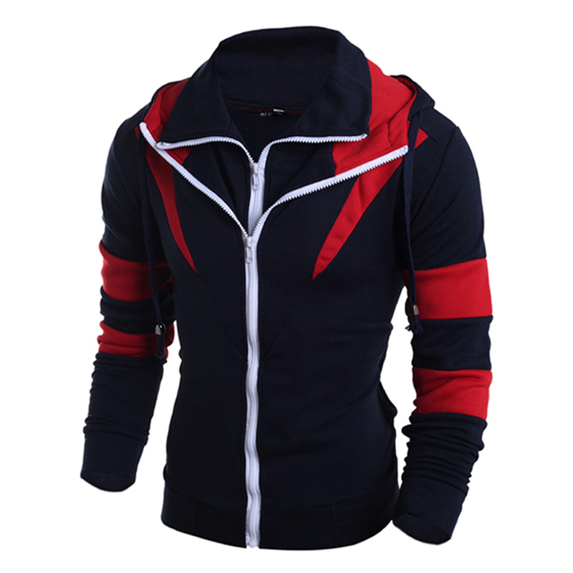 Double Zipper Men's Hoodies Sweatshirts Men Autumn Winter Thrasher Patchwork Hooded Jacket Male Assassins Creed Hoody Sportswear