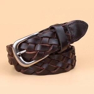 Image 3 - hot fashion luxury designer Weaving belt women high quality full grain real genuine leather girdle breathable belt for jeans