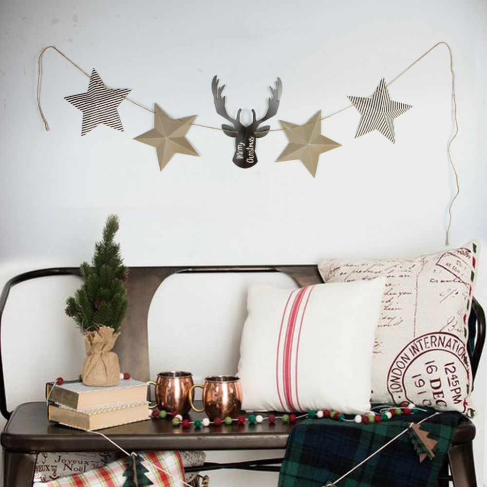 Chic Buck Deer Head with Stars Garland Animal Antler Bedroom Kitchen Den Fireplace Wall Hanging Christmas Supplies  Homely Decor