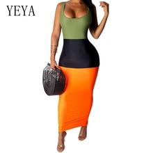 YEYA Fashion Sleeveless Bodycon Bandage Pencil Maxi Dress Elegant Women Summer Bohemian Beach Party Casual Long vodeties