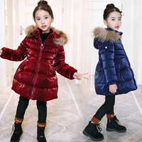 2018 Fashion Girl Winter Jackets Children Coats Warm Baby Thick Down Cotton padded Kids Outerwears for Teenage 4 12Y Coat D69