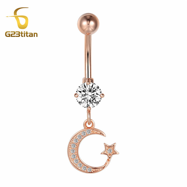 Us 4 9 G23titan Anti Allergy Rose Gold Color Steel Earrings Moon Star Ear Nail Belly Button Rings Navel Piercing Body Jewelry In Body Jewelry From