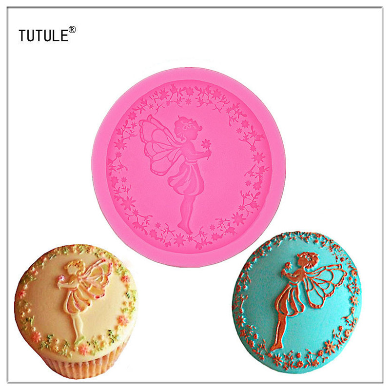 Gadget Fondant acuan Butterfly Fairy Angel Girl silikon Fondant Bakar Paste Acuan DIY Cake Decorating Polymer Clay Resin Candy
