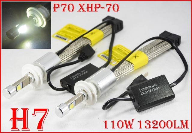 1 Conjunto P70 110 W H7 LEVOU Farol Kit XHP70 13200LM Chips Fanless Condução Farol de SUPER Branco 6000 K H4 H8 H11 H16 (JP) 9005/6 H13