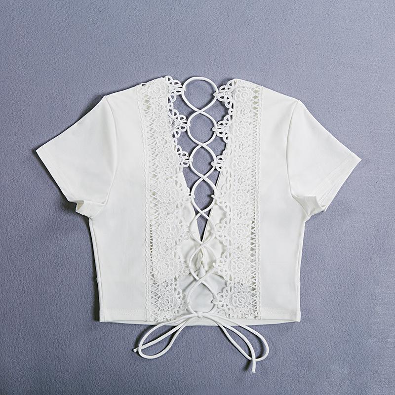 Lace Up Back Sexy T-shirt, Crisscross Fashion T- shirt, Summer Crop Top 20