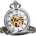 Do vintage Das Mulheres Dos Homens de Luxo Mecânica Relógios De Bolso De Prata Lisa de Aço Inoxidável Caso Esqueleto Dial Algarismos Romanos Hunter Completa