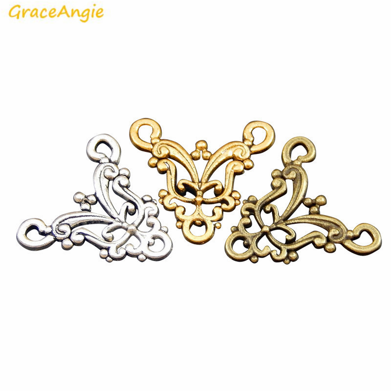 GraceAngie 15pcs Antique 3 Color Mix Sale Three Holes Connectors Handmade DIY Vintage Fine Jewelry Necklace Earring Findings(China)