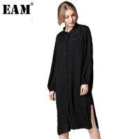 [EAM] 2018 Nowych Moda Wiosna Szwy Koronki Stały Kolor Przycisk Boczny Otwór Wentylacyjny YC114 Hem Luźne Typu Koszula Z Długim Rękawem Sukienka Kobiet