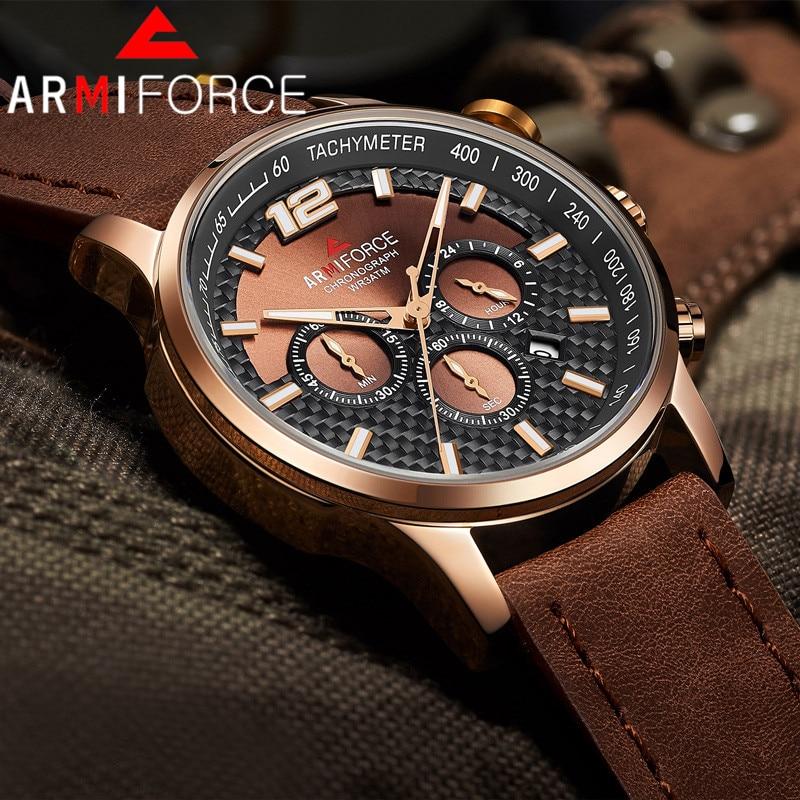 Armiforce Men Watch Top Luxury Brand Gold Chronograph Calendar Sport Male Wristwatch Military Man Clock Relogio