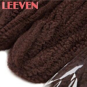 Image 4 - Leeven tresses Afro Marley, extensions capillaires synthétiques au Crochet, duveteuses, 18 pouces, lot de 5 pièces