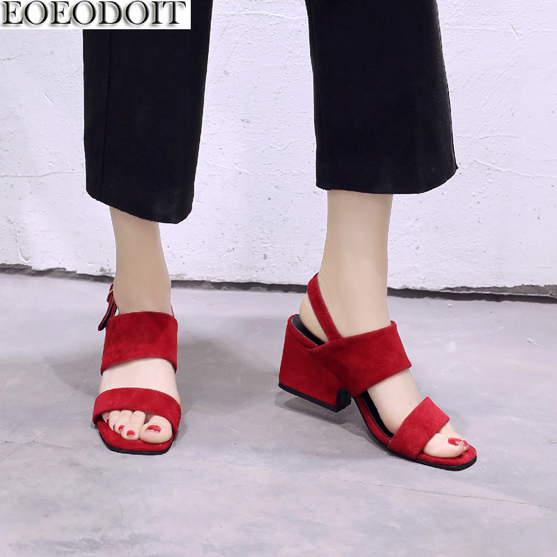 EOEODOIT Women Sandals Summer High Heels Shoes Fashion Open Toe Wide Belted Comfort Stable Pumps Sandals Promotion Price promotion women