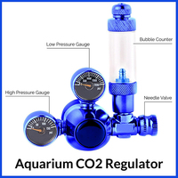 110 220V Dual Gauge Display Mini Stainless Steel Aquarium CO2 Regulator Magnetic Solenoid With Bubble Counter