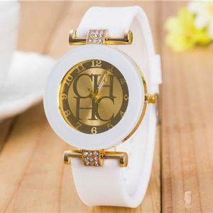 Image 2 - 2018 Nieuwe Eenvoudige Leer Merk Genève Casual Quartz Horloge Vrouwen Crystal Silicone Horloges Relogio Feminino Polshorloge Hot Koop
