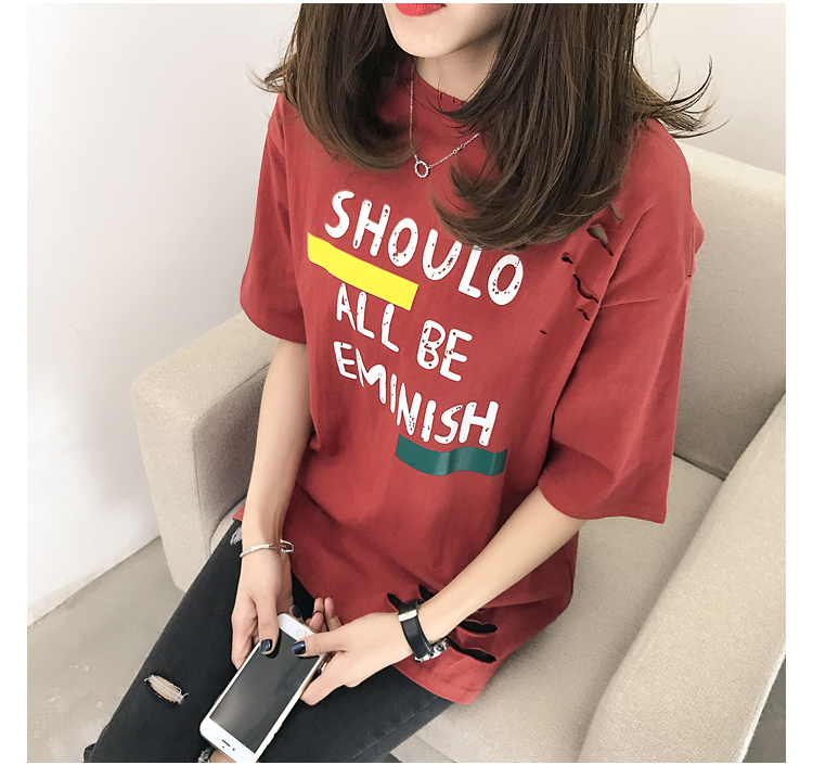XL- 4XL 2019 new plus size summer loose High Street hole Letter print short sleeve O-Neck women T-shirt top tee TY5 29