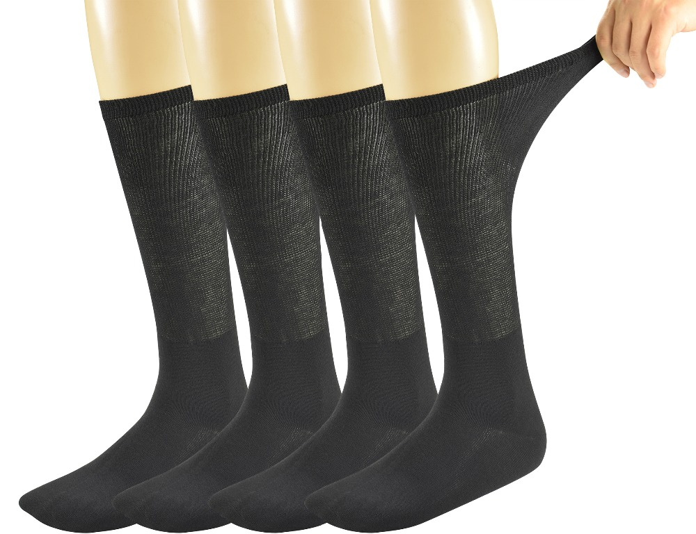 Mens Bamboo Diabetic Over The Calf Socks,4 Pack Size 10-13