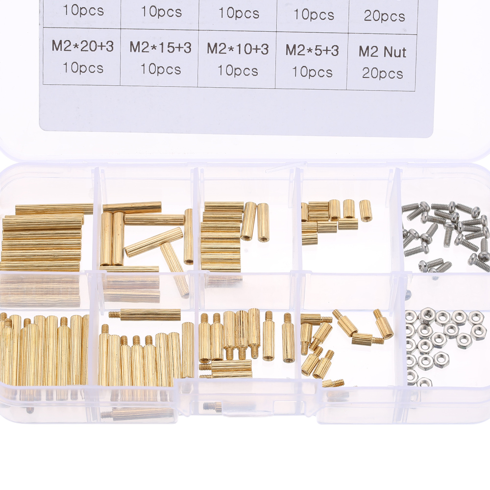 Spacing M2/M3 brass mounting hardware kit Screw Cylindrical Brass Threaded Pillar PCB Hex Standoff Spacer Male to Female SetH52 m3 spacer hex standoff pcb hex nuts nylon black pillar female to female