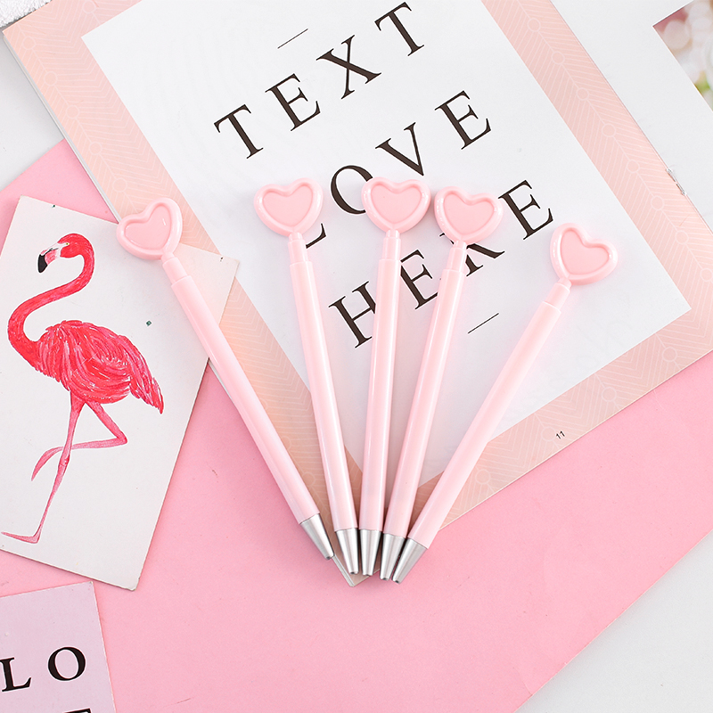 JUKUAI 4 Pcs/Lot Pink Love Heart Gel Pen Cute Ballpoint Black Color Pens For Gril Gift Stationery Signature School Supplies 8163