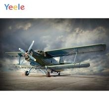 Yeele Dark Sky White Clouds Airport Airplane Holiday Photography Backgrounds Customized Photographic Backdrops for Photo Studio