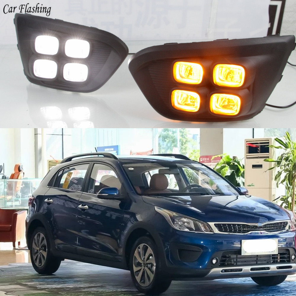 Car 12V DRL Day Lights Lamp For Russia KIA RIO X Line 2018 Highlight Auto Driving