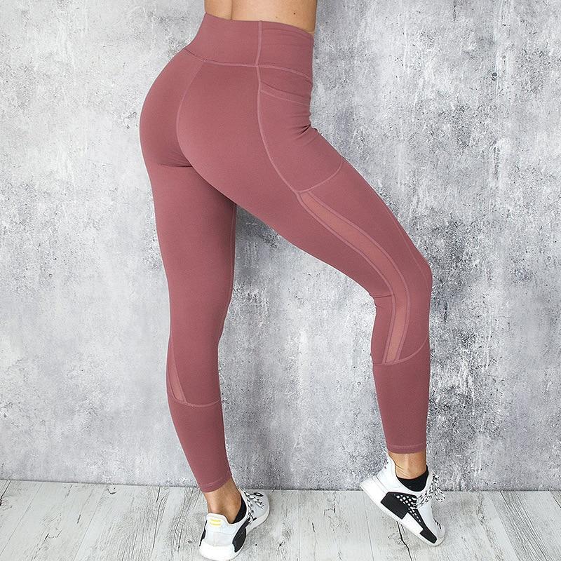 CHRLEISURE High Waist Pocket Leggings Solid Color Workout leggings Women Clothes 2019 Side Lace Leggins Mmujer 4