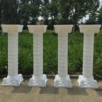 European Style 98 Cm Height White Upscale Plastic Hollow Roman Column Wedding Welcome Area Decoration Photo