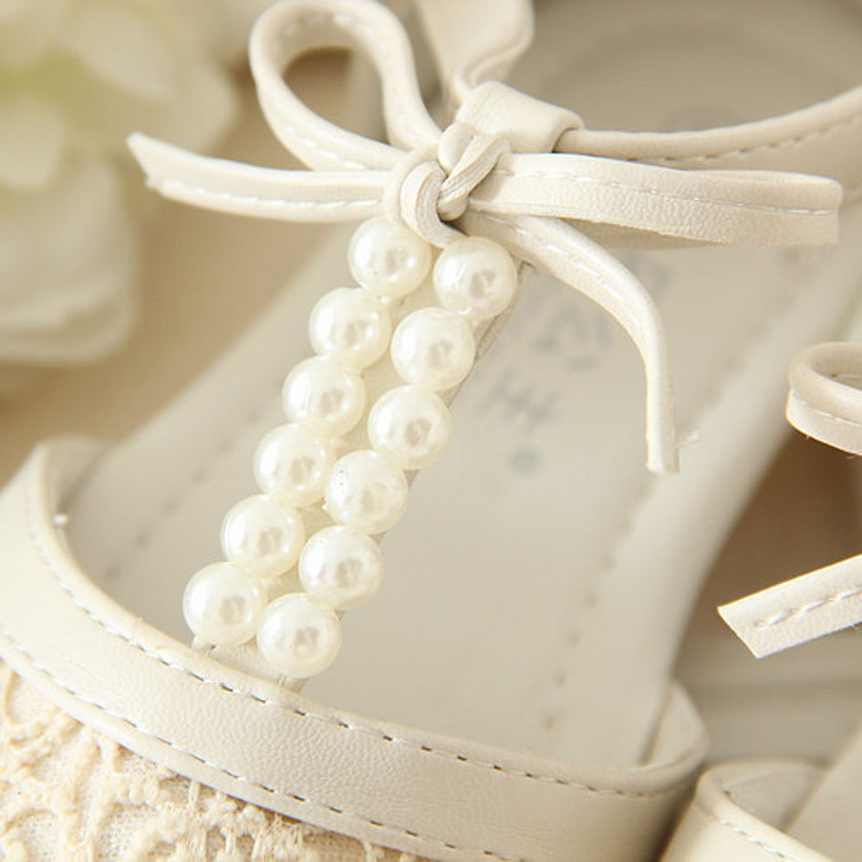T Strap Beading Flower Girls Shoes For Wedding Lace Girls Sandals ...
