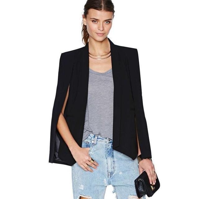 XS-XXL Tamanho 6 Cape Casaco Fashion Blazer Mulheres Casaco Branco Lapela preta Dividir Manga Comprida Pockets Sólidos Terno Jaqueta Casual Workwear