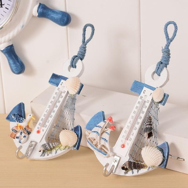 DIY Kinderzimmer Dekoration Thermometer Handwerk Anker Muschel Seestern  Mediterranen Stil Wall Art Home Holz Hänge Craft