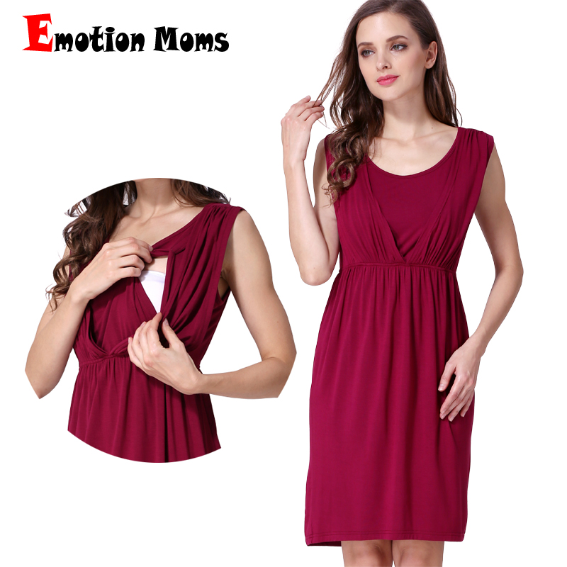 Emotion Moms New Summer Maternity Abbigliamento Allattamento al seno gonna gonna senza maniche abiti di maternità per le donne incinte infermieristica dress