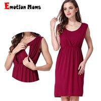 Emotion Moms New Summer maternity Clothes Breastfeeding Vest skirt Sleeveless Maternity Dresses For Pregnant Women Nursing dress