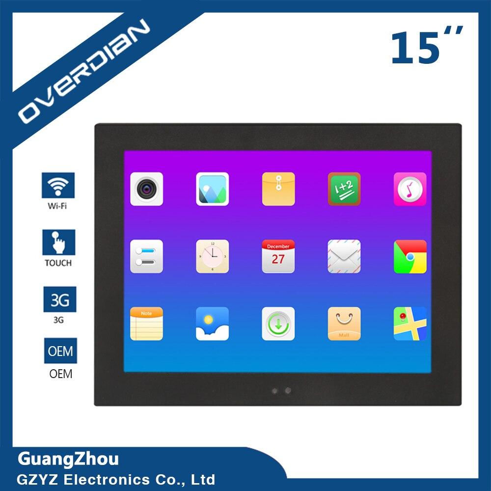 Système industriel androïde d'ordinateur de 15 pouces construit dans l'écran tactile de résistance de WiFi écran industriel d'affichage à cristaux liquides de PC de tablette d'ordinateur