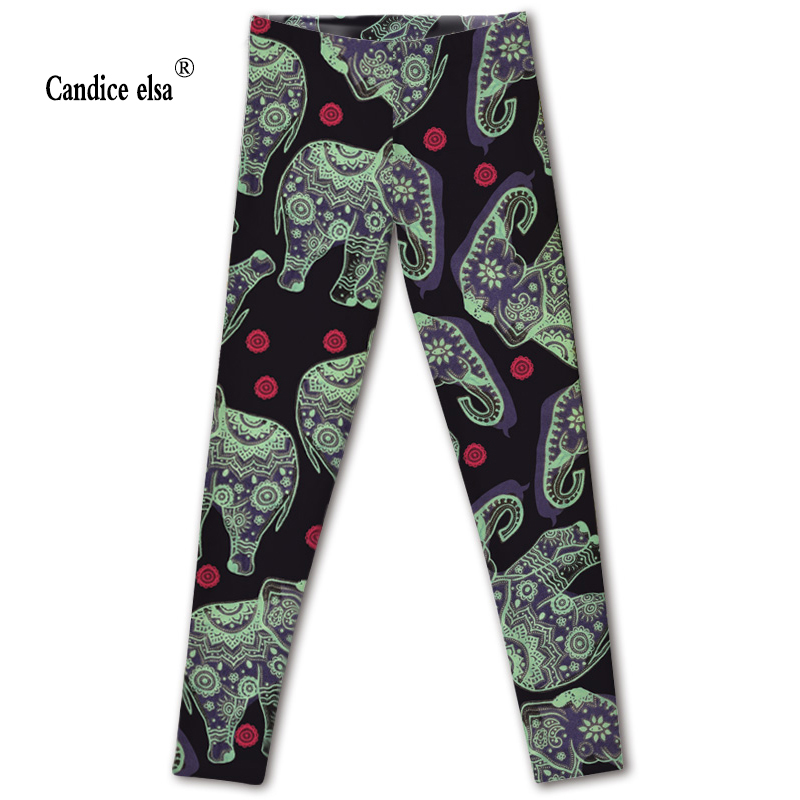 CANDICE ELSA leggings women elastic sexy fitness legging elephant printed workout female pants plus size wholesale drop shipping