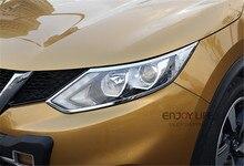 1 pair ABS Chrome Frente Cabeza de La Lámpara de la Linterna Ajuste de La Cubierta Etiqueta Engomada Del Marco Para Nissan Qashqai 2014 2015 2016 Accesorios