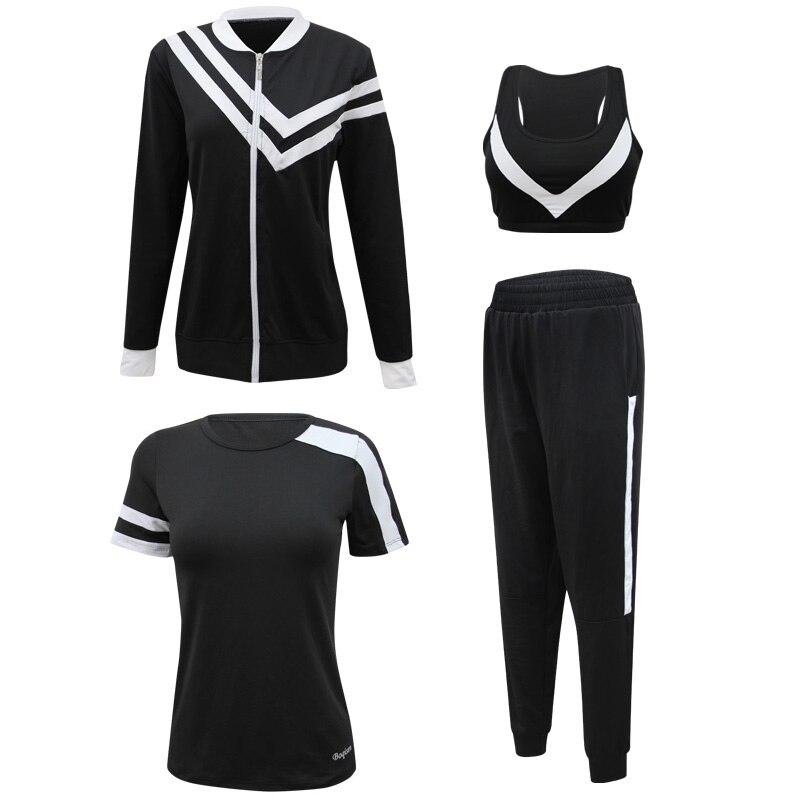 4pcs Women Sport Suit Tracksuit Yoga Set Zipper Jacket+T Shirt+Bra+Pants Gym Suit Workout Clothes Fitness Sportwear For Women - 5
