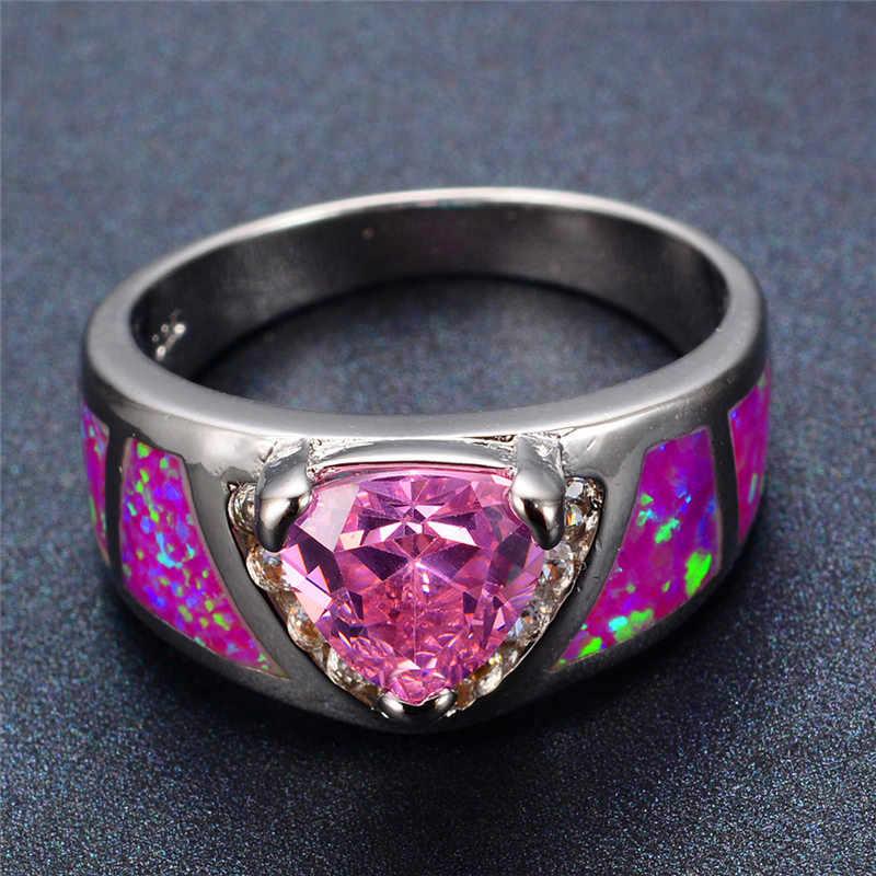 หญิงหรูหราสีชมพูไฟโอปอลแหวนที่ไม่ซ้ำกัน 925 เงินสามเหลี่ยมแหวนสัญญาหมั้นแหวน