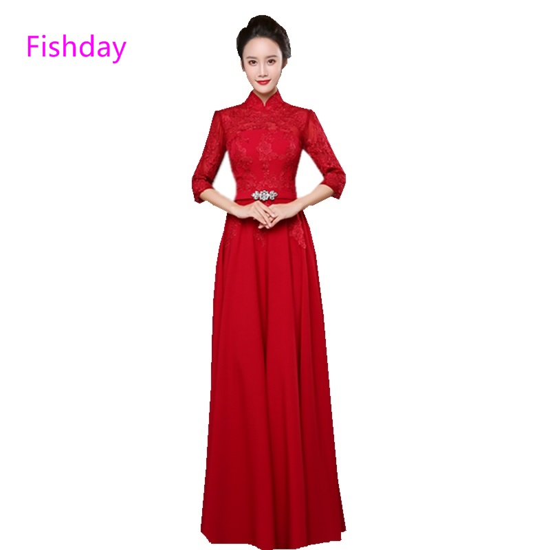 Fishday Evening Dresses Long Sleeve Blue V neck Dubai Kaftan Plus Size  Vestido de Formal Gown Mother of ... c3908d65f2e9