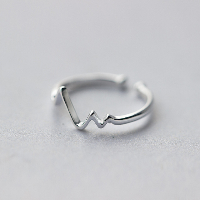 925 Sterling Silver Irregular Geometric Wave Adjustable Ring