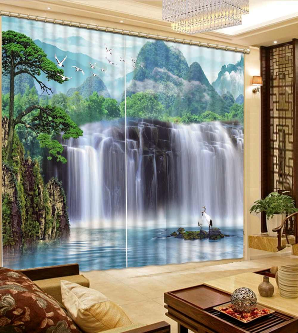 custom 3d curtains for living room blackout curtains Waterfall landscape white curtains kitchen window curtains