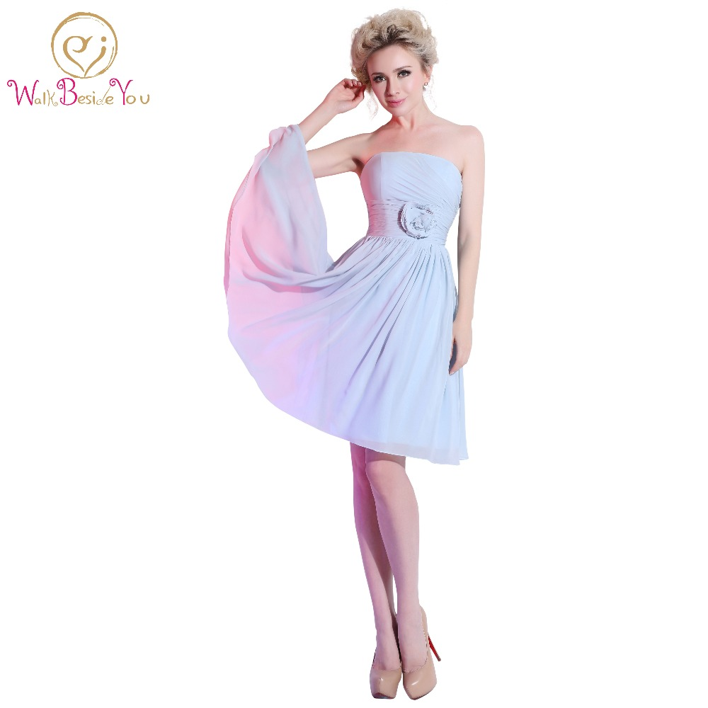 Compare prices on short light blue bridesmaid dresses online light blue short bridesmaid dresses strapless with floral chiffon a line pleats honour of bridal ombrellifo Image collections