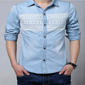New 2016 Large Size Mens Long Sleeve Slim Thin  Cotton Denim Shirt