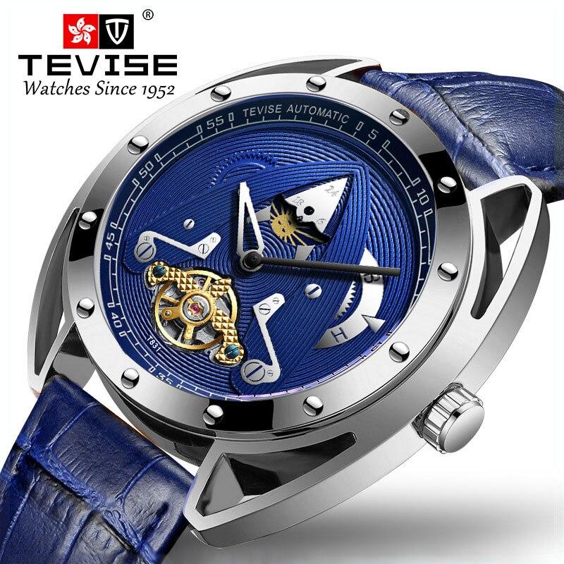 Reloj Mecánico T831 automático T831 de marca de lujo para hombre, correa de cuero para hombre, reloj deportivo de fase lunar Tourbillon TEVISE, relojes automáticos de moda para hombre, relojes mecánicos de acero inoxidable, reloj de lujo para hombre, fase lunar, luminosos, impermeables, nuevo