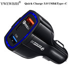 YWEWBJH Car USB Charger Quick Charge 3.0 Mobile Phone Charger Dual USB Fast QC 3.0 Car Charger for Samsung Tablet Charger