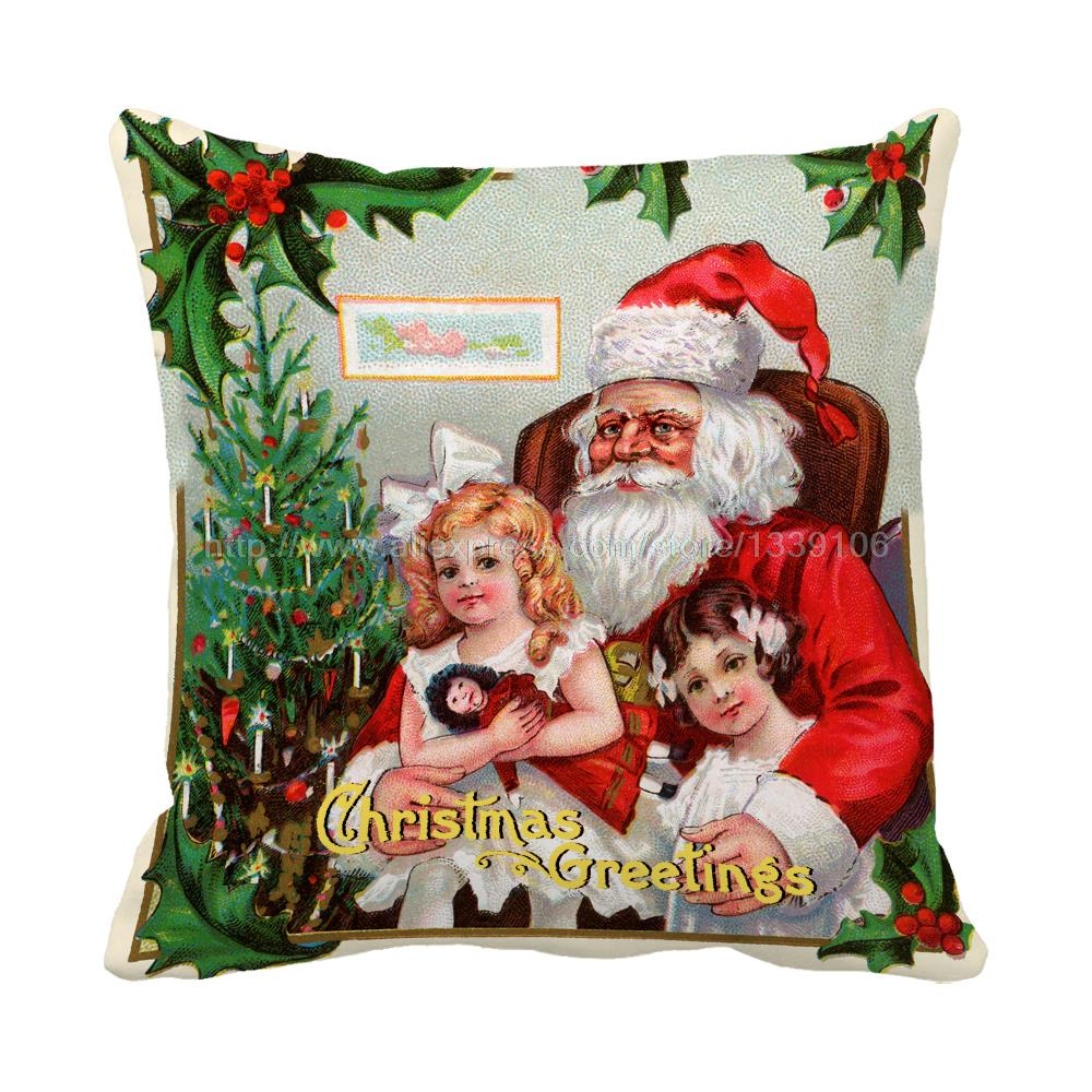 Santa holds kids in his arms print christmas luxury chair bed cushions home decor almofada kids sofa throw decorative pillows