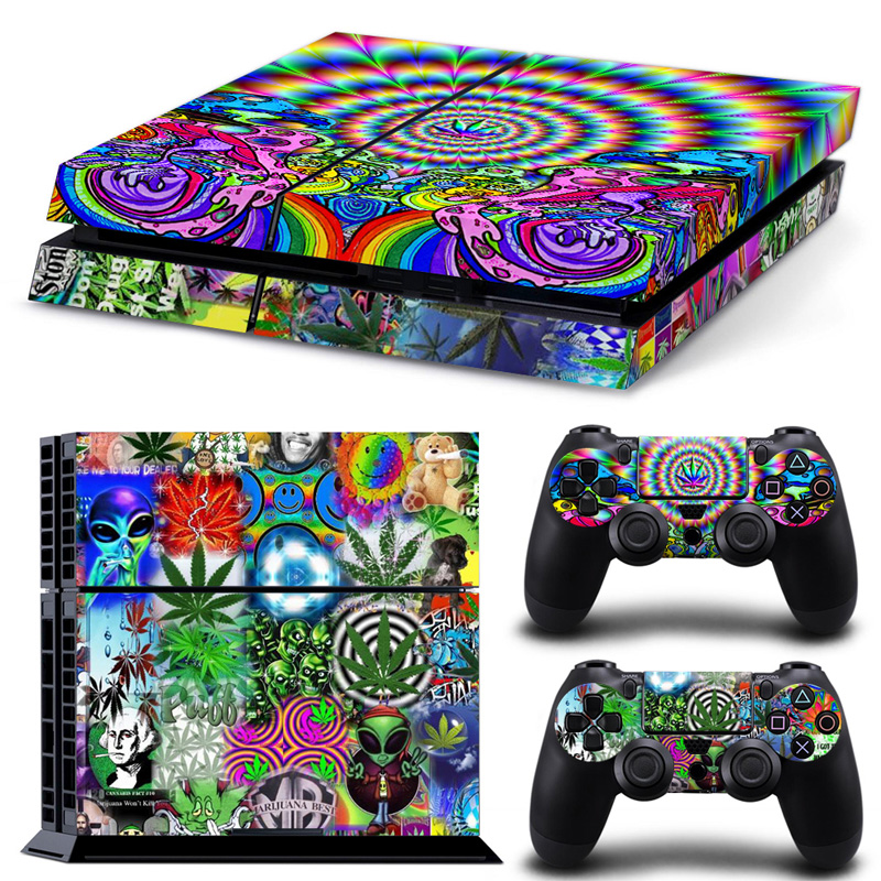 Personal-Skin-Sticker Two-Controllers Ps4 Console Custom Weed Free for And -Tn-Ps4-5064