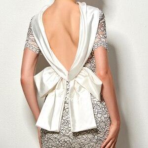 Image 5 - Dressv סקסי ללא משענת נדן קצר קוקטייל שמלת וינטג גבוה צוואר באורך הברך ערב מסיבת תחרה קוקטייל שמלה עם bowknot