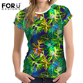 FORUDESIGNS Hawaii T shirt for Women Fashion Ladies Summer Breathable Coconut Tree Tshirt Casual Slim Tee Shirts Clothes Tops