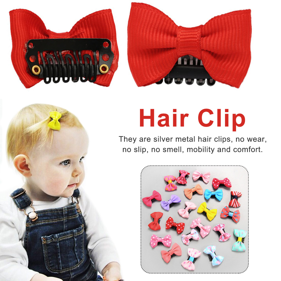 Hairclips ViClips Hair Accessories for Girls Ties 25 Piece Little Girl Bows